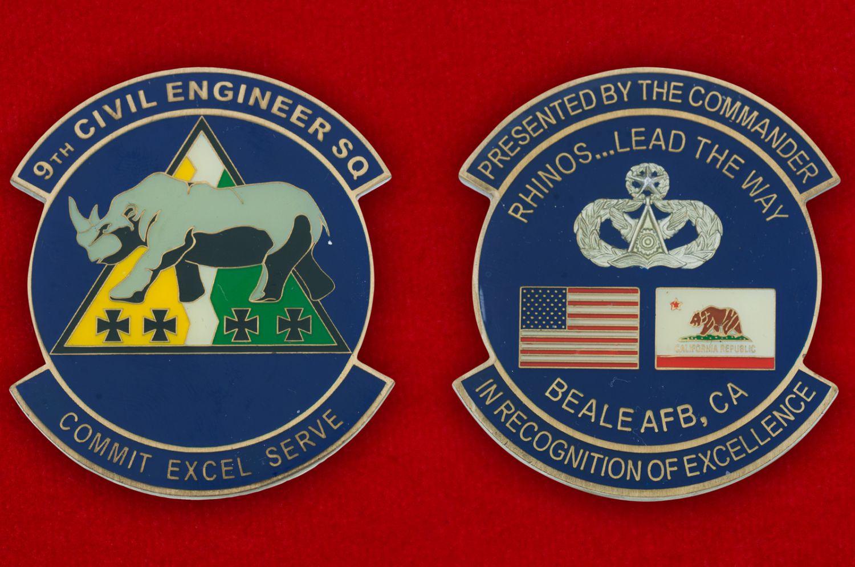 Челлендж коин 9-й инженерно-строительной эскадрильи авиабазы Бэйл - аверс и реверс