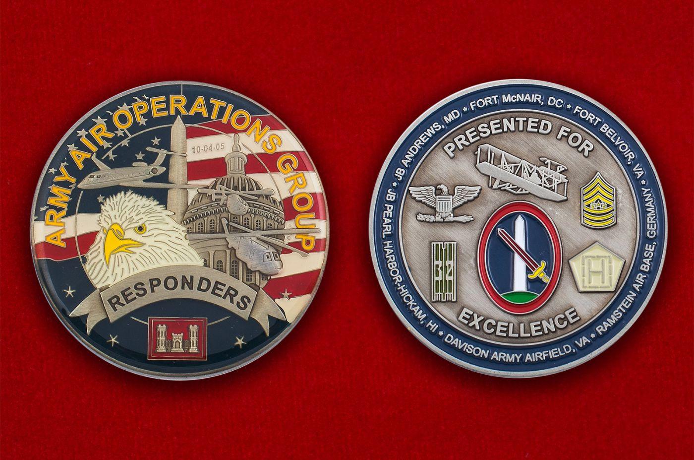 Челлендж коин армейской авиации ВС США - аверс и реверс