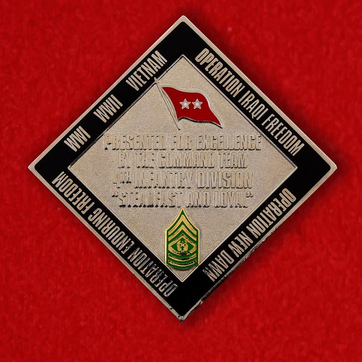 """Челлендж коин армии США """"4-ой Пехотной дивизии за операцию Освобождение Ирака"""""""