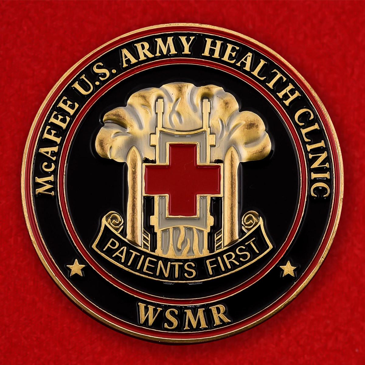 """Челлендж коин армии США """"От командира военного медицинского центра McAfee"""""""