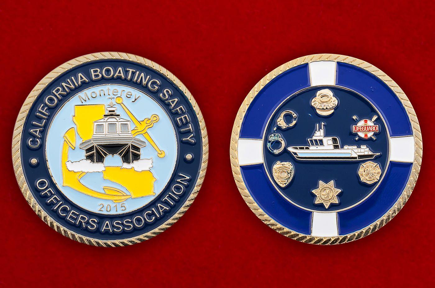 Челлендж коин Ассоциации офицеров Службы безопасности гребного спорта в Монтерее, Калифорния - аверс и реверс