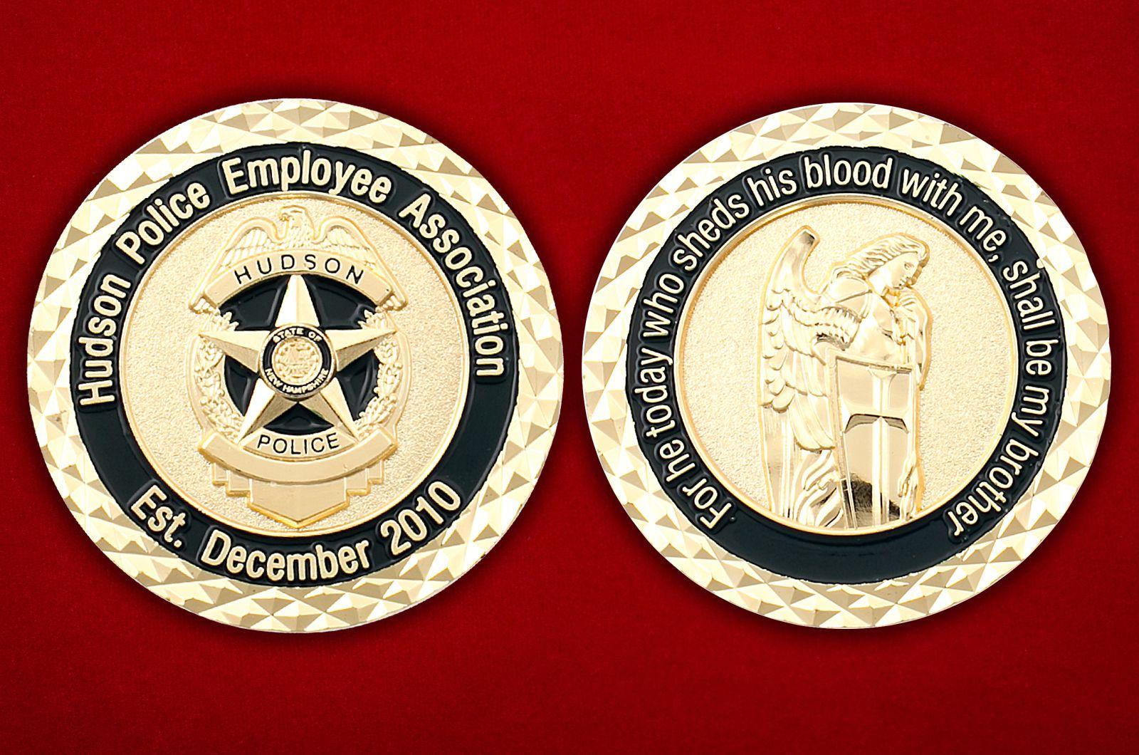 Челлендж коин Ассоциации сотрудников полиции Хадсона (Нью-Гемпшир) - аверс и реверс