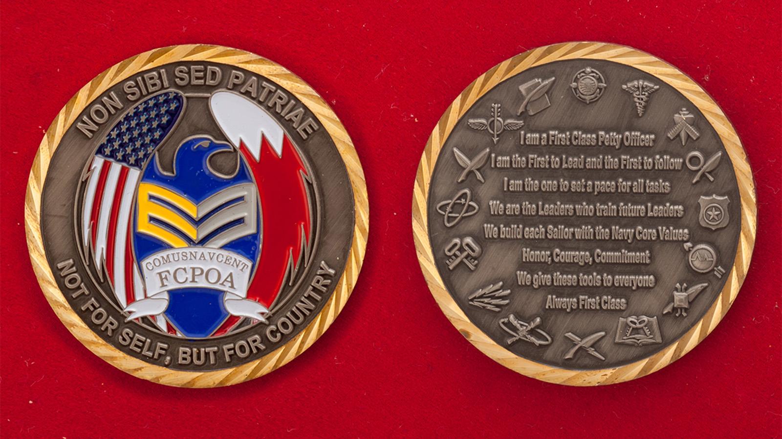 Челлендж коин Ассоциации старшин Объединенного центрального командования ВМС США - аверс и реверс