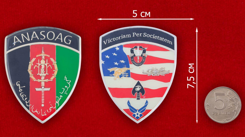 Челлендж коин Ассоциации военных консультантов США в Афганистане - сравнительный размер