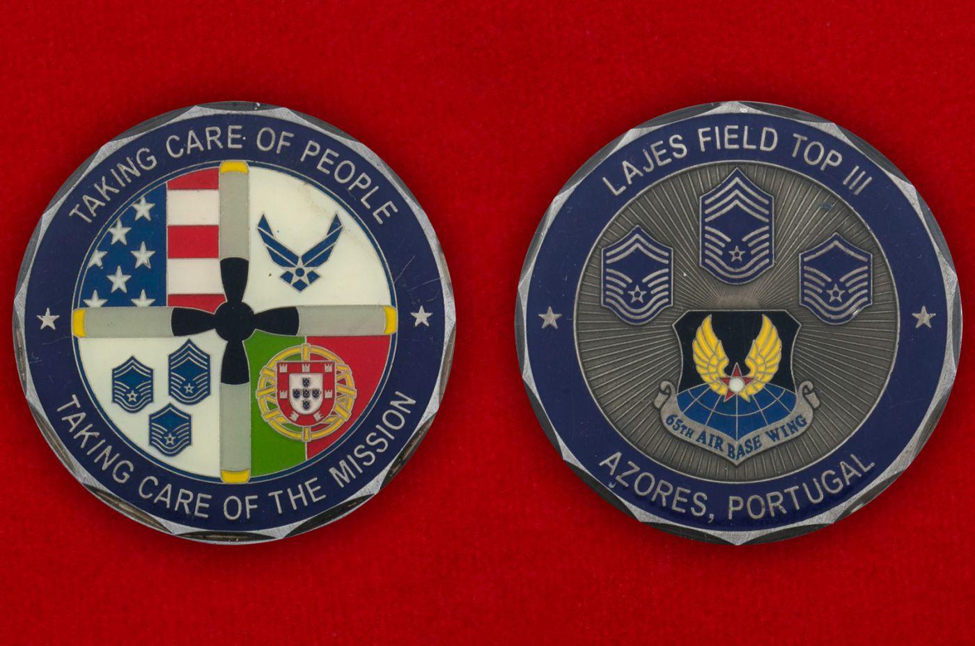 Челлендж коин авиагруппы ВВС США на базе Лажеш-Филд, Португалия - аверс и реверс