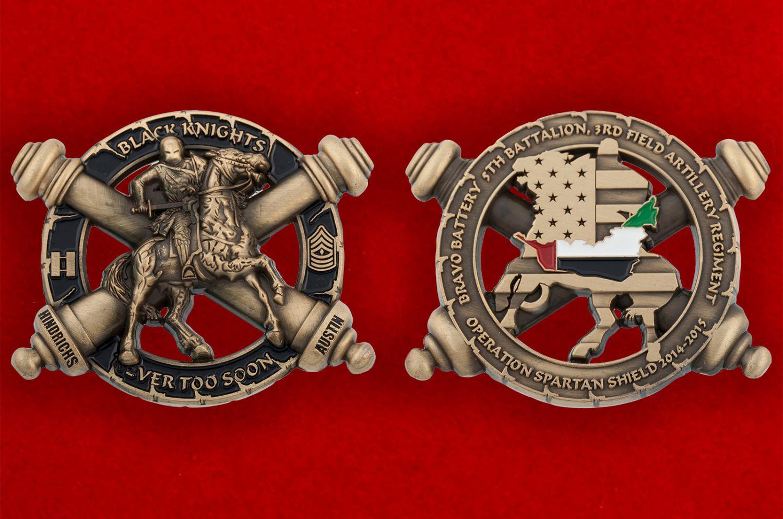 """Челлендж коин батареи """"Браво"""" 5-го батальона 3-го полка Полевой артиллерии Армии США - аверс и реверс"""