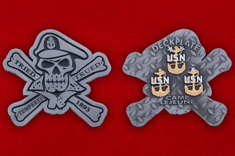 Челлендж коин Базы Кэмп-Леджен Корпуса Морской пехоты США - аверс и реверс