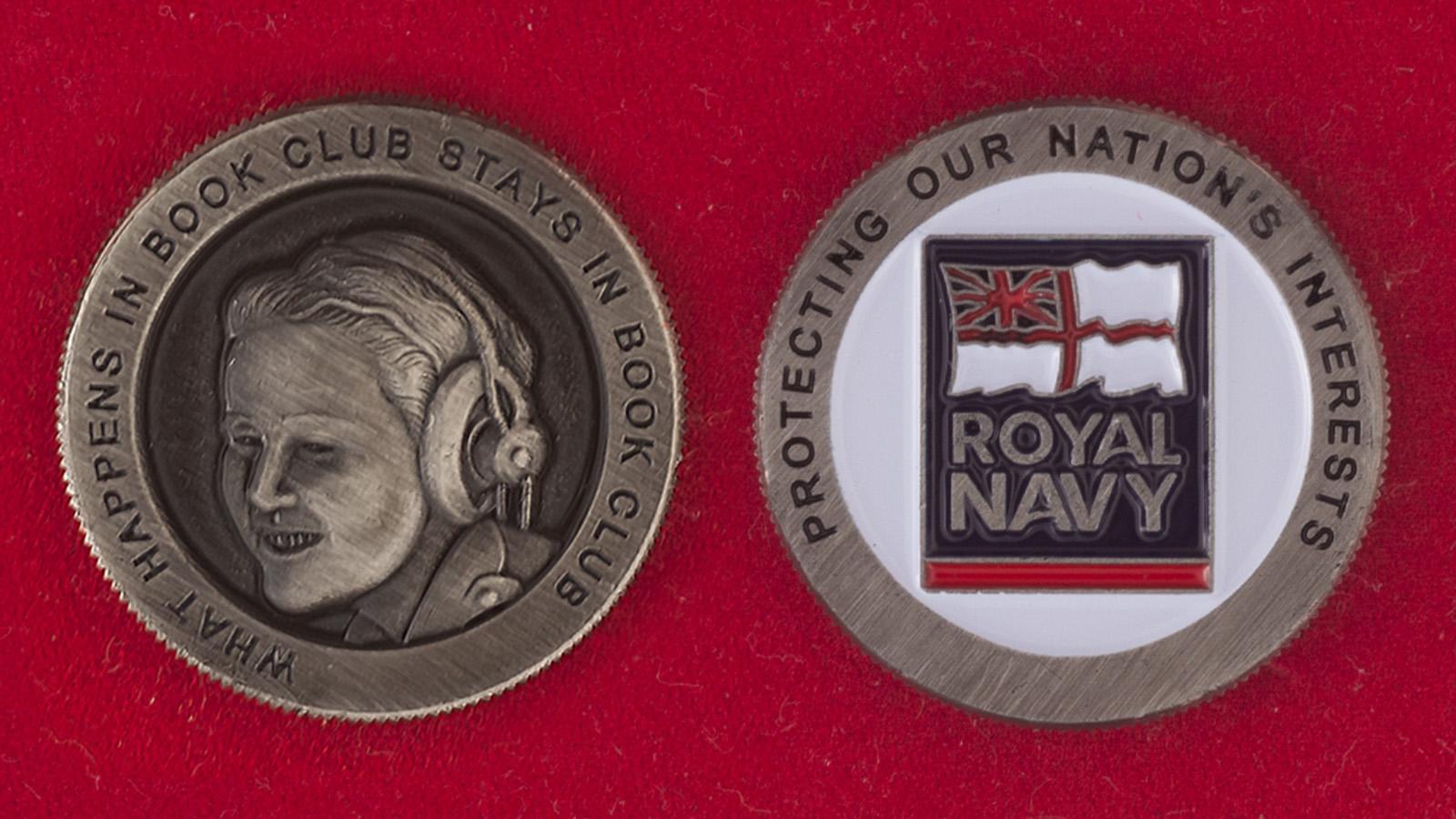 Челлендж коин библиотеки Королевских ВМС Великобритании - аверс и реверс