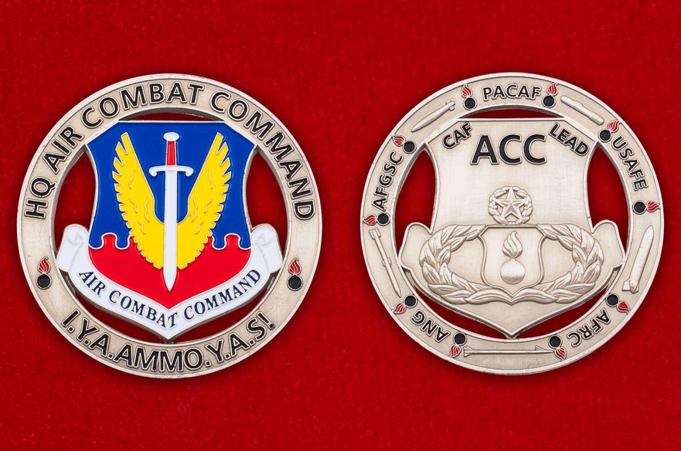 Челлендж коин Боевого авиационного командования ВВС США - аверс и реверс
