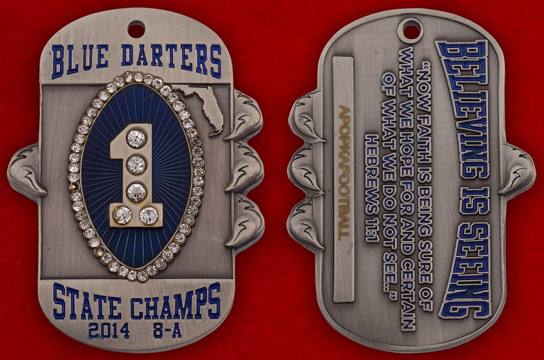 "Челлендж коин ""Чемпионы Флориды-2014"" команды американского футбола Apopka Blue Darters - аверс и реверс"