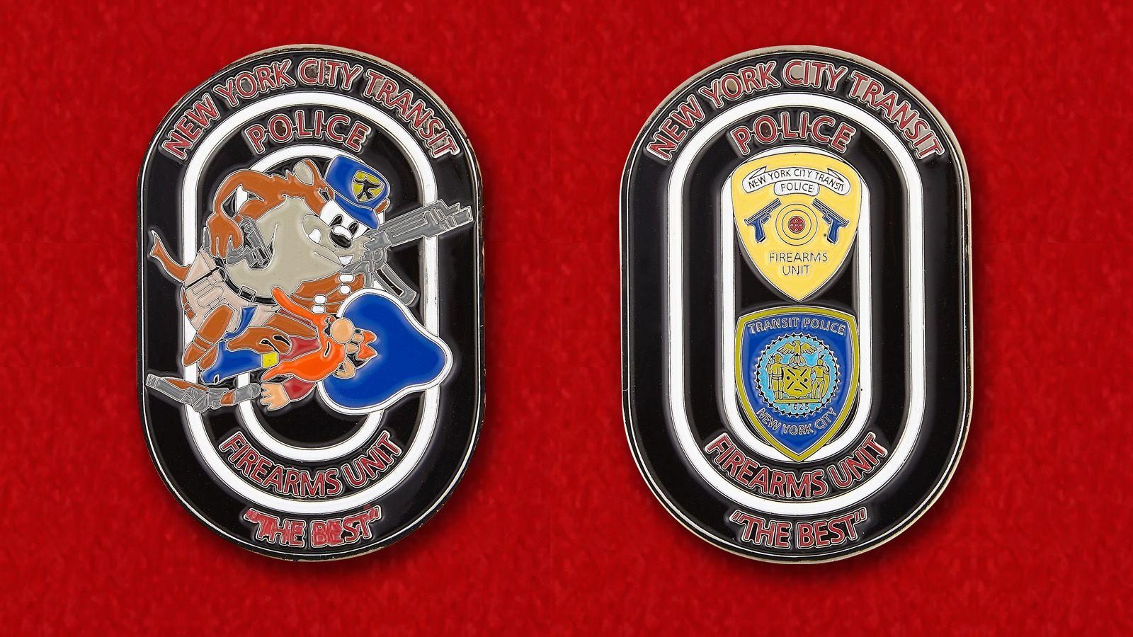 Челлендж коин Департамента городского транспорта полиции Нью-Йорка - аверс и реверс
