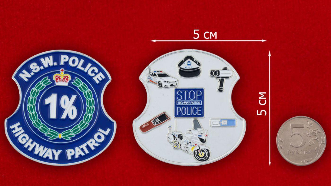 Челлендж коин Дорожного патруля полиции штата Новый Южный Уэльс (Австралия) - сравнительный размер