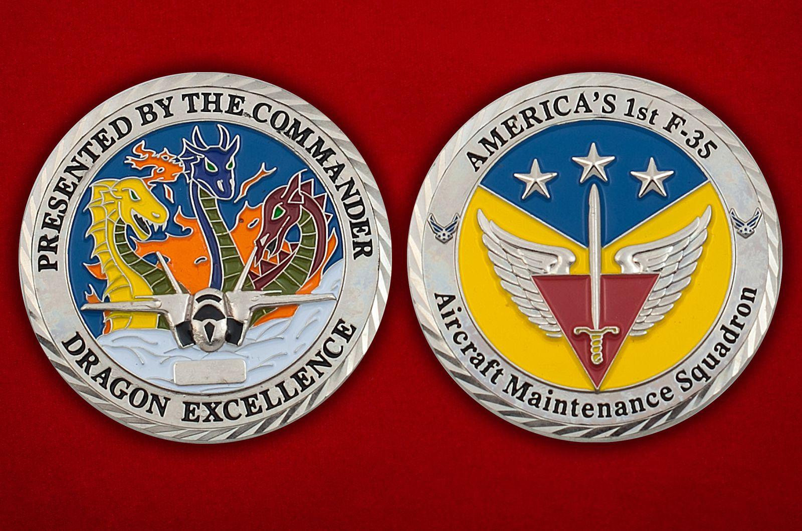 "Челлендж коин ""1-й эскадрилье F-35 от командования"" - аверс и реверс"