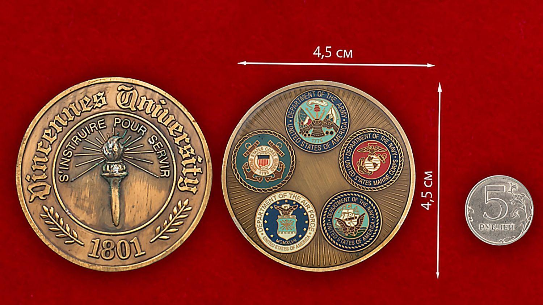 Челлендж коин факультета подготовки военнослужащих Университета Винсеннес - сравнительный размер