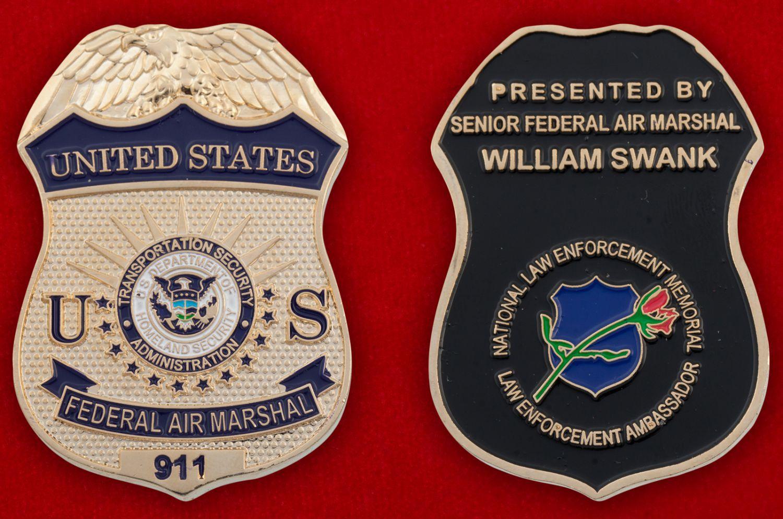 Челлендж коин Федеральной службы воздушных маршалов США - аверс и реверс