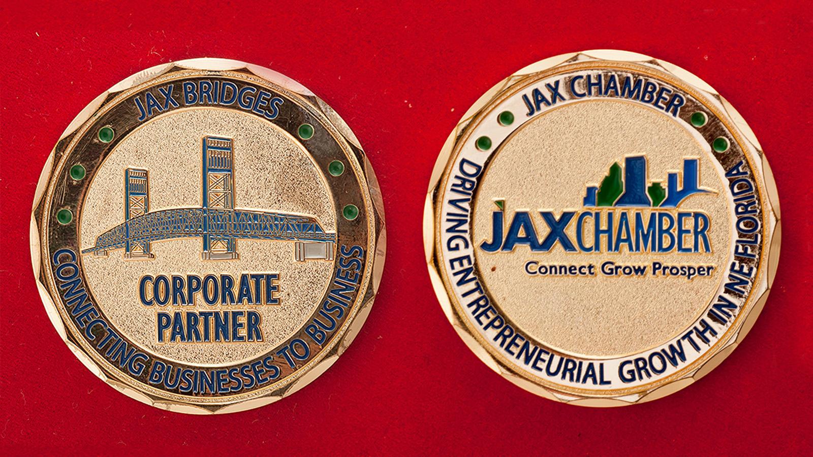 Челлендж коин финансово-промышленной группы Jax Chamber - аверс и реверс