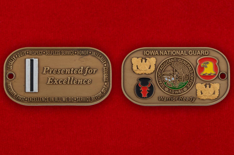 Челлендж коин Генерал-адьютанта Нацгвардии США штата Айова - аверс и реверс