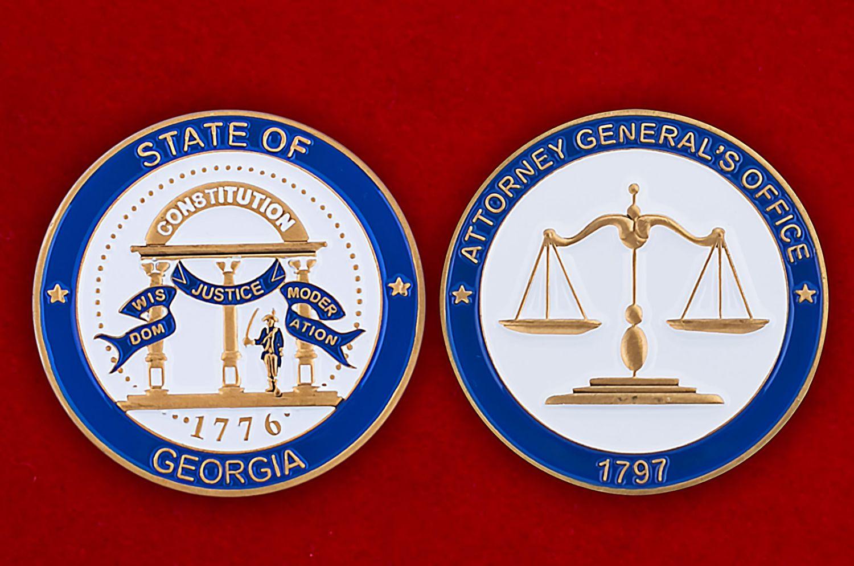 Челлендж коин Генпроуратуры штата Джорджия - аверс и реверс