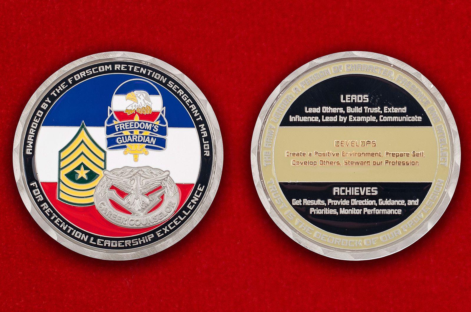 Челлендж коин Главного Командования Сухопутных войск США - аверс и реверс