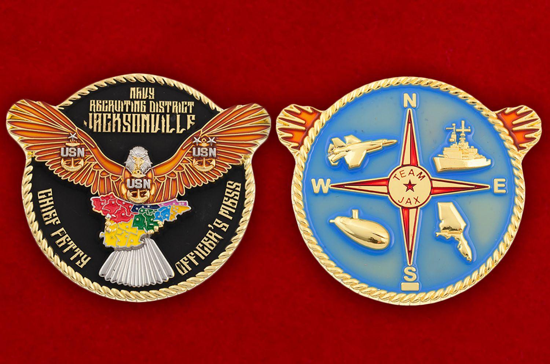 Челлендж коин Главного сташины рекрутингового центра ВМС США в Джексонвилле - аверс и реверс