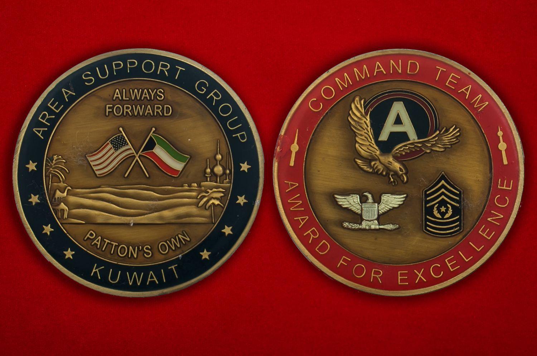 Челлендж коин группы поддержки войсковых подразделений Армии США в Кувейте - аверс и реверс