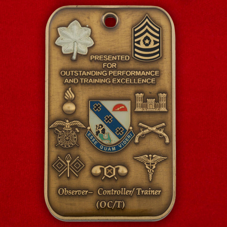 Челлендж коин инструктора-наблюдателя за учениями 1-го батальона 309-го  пехотного полка и 174-й Пехотной бригады Армии США