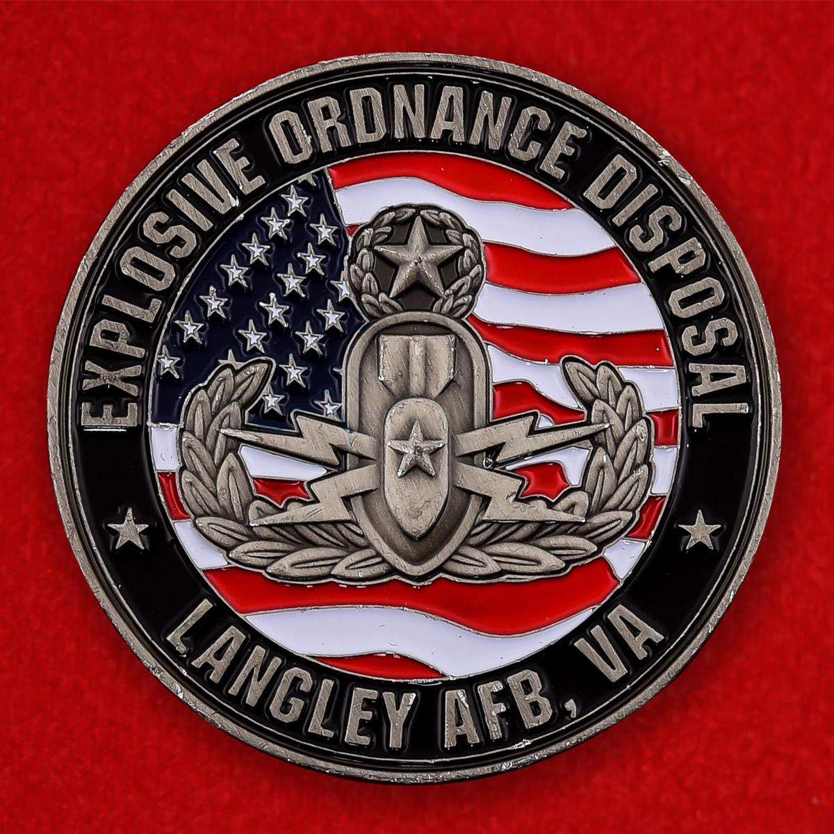 """Челлендж коин """"Инженерно-саперное подразделение авиабазы Ленгли, Вирджиния"""""""