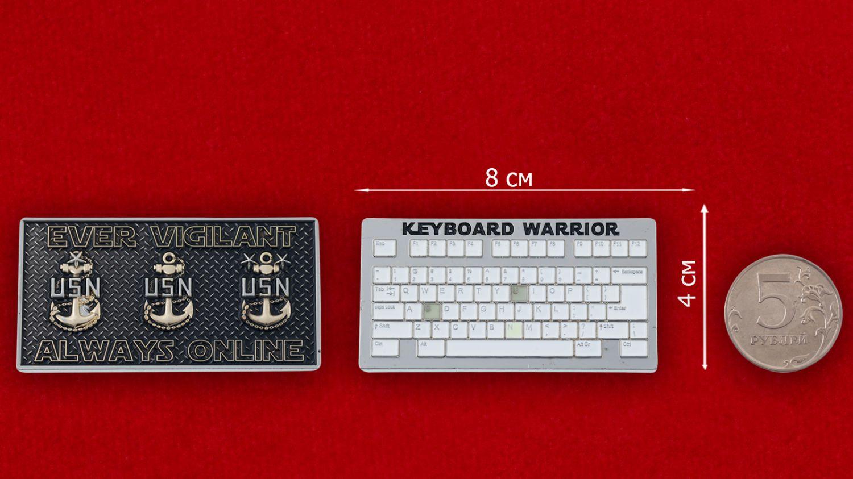 Челлендж коин IT-специалистов ВМС США - сравнительный размер