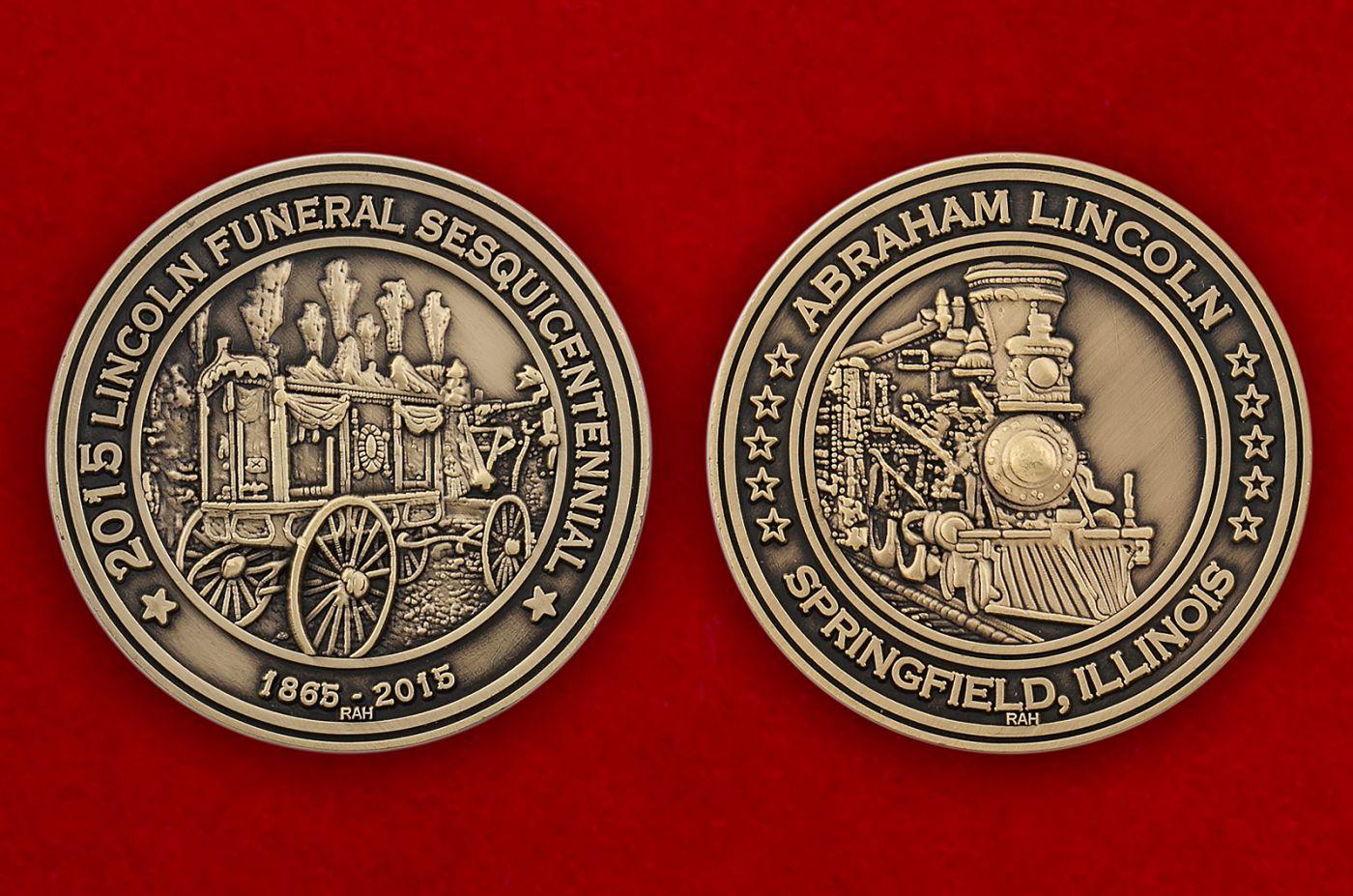Челлендж коин к 150-летию смерти Авраама Линкольна - аверс и реверс