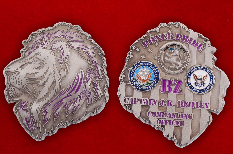 Челлендж коин капитана десантного транспорта USS Ponce (AFSB(I)-15) - аверс и реверс
