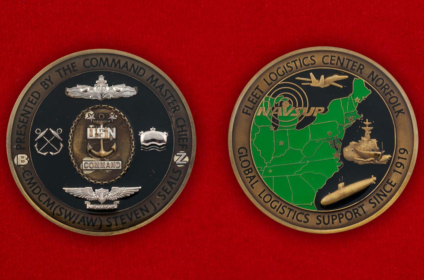 Челлендж коин Команд-мастер-сержанта Береговой охраны США Стивена Сайлса - аверс и реверс