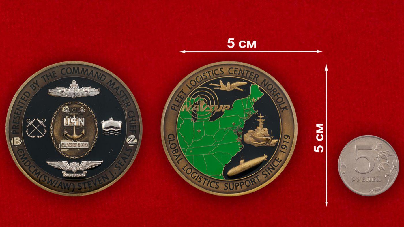 Челлендж коин Команд-мастер-сержанта Береговой охраны США Стивена Сайлса - сравнительный размер