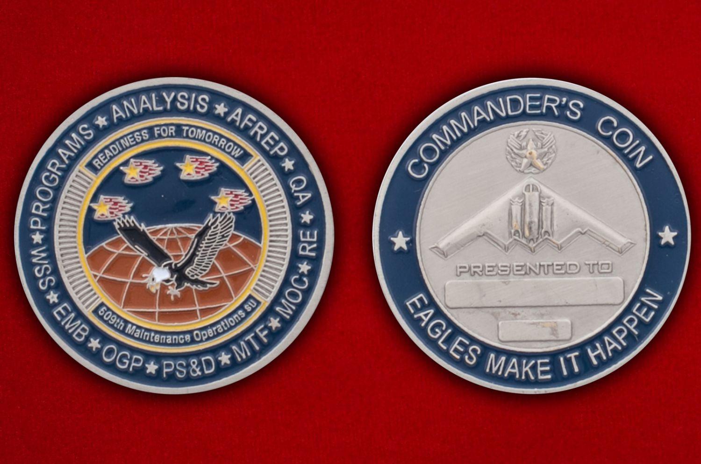 Челлендж коин командира 509-й эскадрильи Оперативного обеспечения - аверс и реверс
