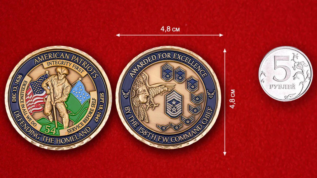 """Челлендж коин """"Командиру 158-го истребительного авиаполка за выдающиеся заслуги"""" - сравнительный размер"""