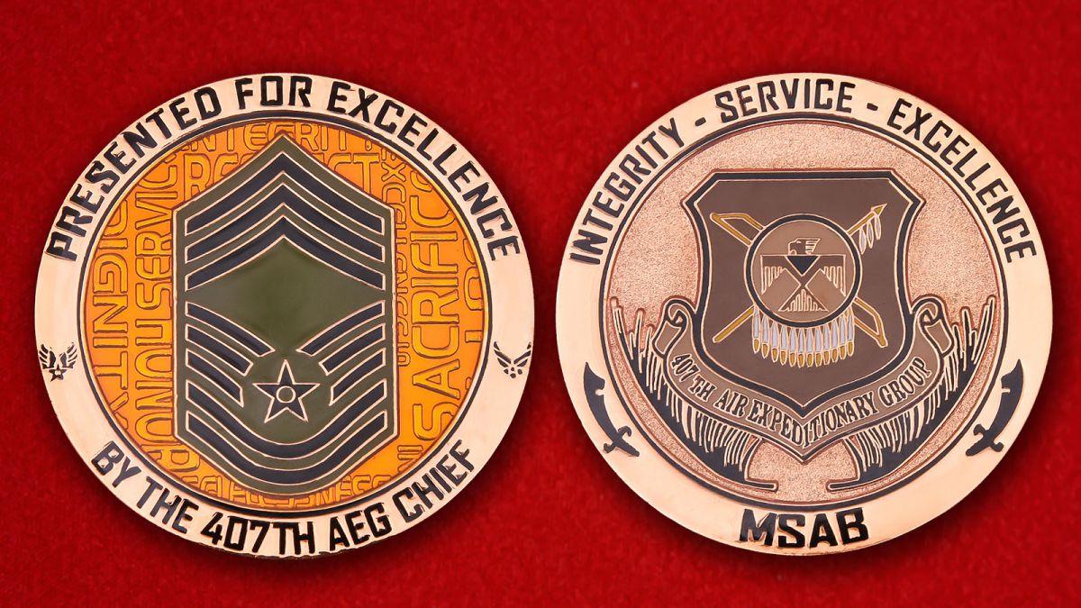 """Челлендж коин """"Командиру 407-й Экспедиционной авиагруппы за отлиную службу"""" - аверс и реверс"""