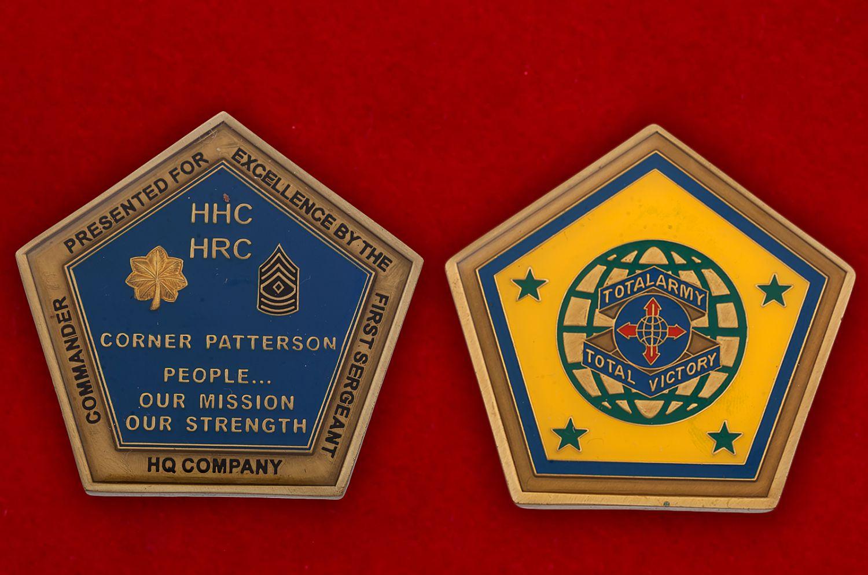 Челлендж коин Командования по связям с общественностью Армии США - аверс и реверс