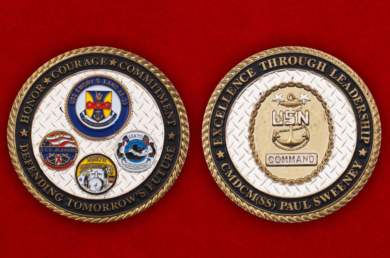Челлендж коин командования ВМС США - аверс и реверс