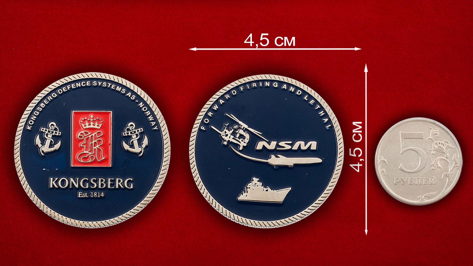 Челлендж коин компании Kongsberg Defence - сравнительный размер