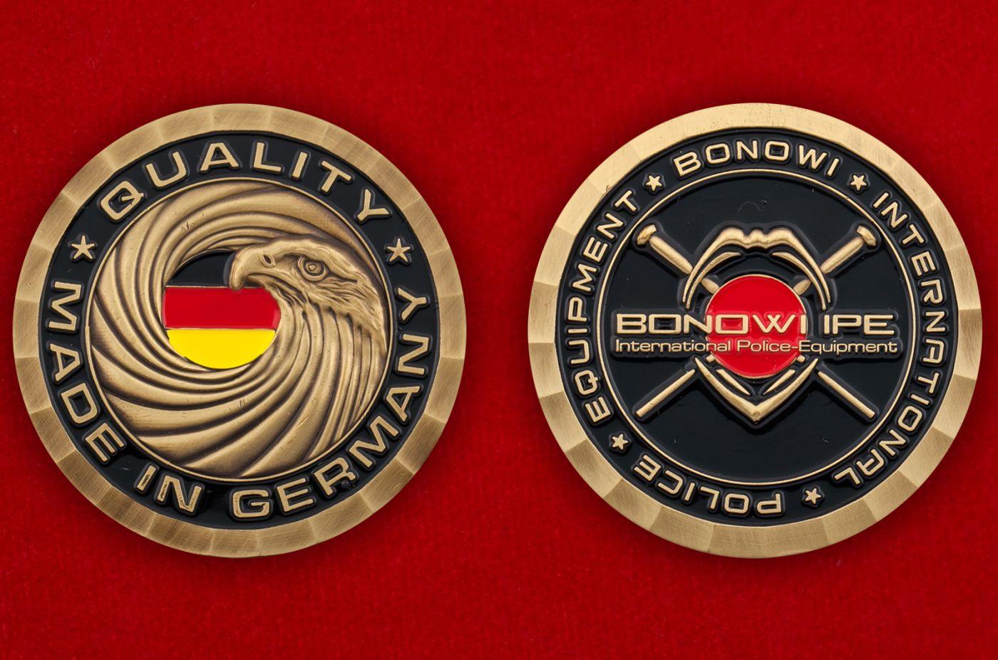 Челлендж коин компании-производителя полицейского оборудования Bonowi IPE - аверс и реверс