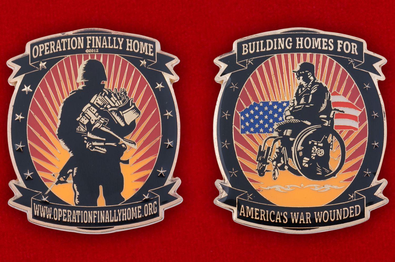 Челлендж коин компании-застройщика для инвалидов и ветеранов военных действий (США) - аверс и реверс