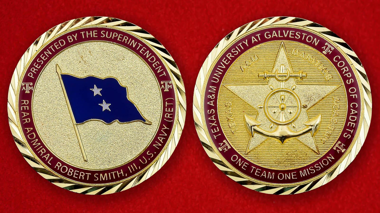 """Челлендж коин """"От руководителя Морской академии при Техасском университете A & M Галвестон контр-адмирала Роберта Смита III"""""""