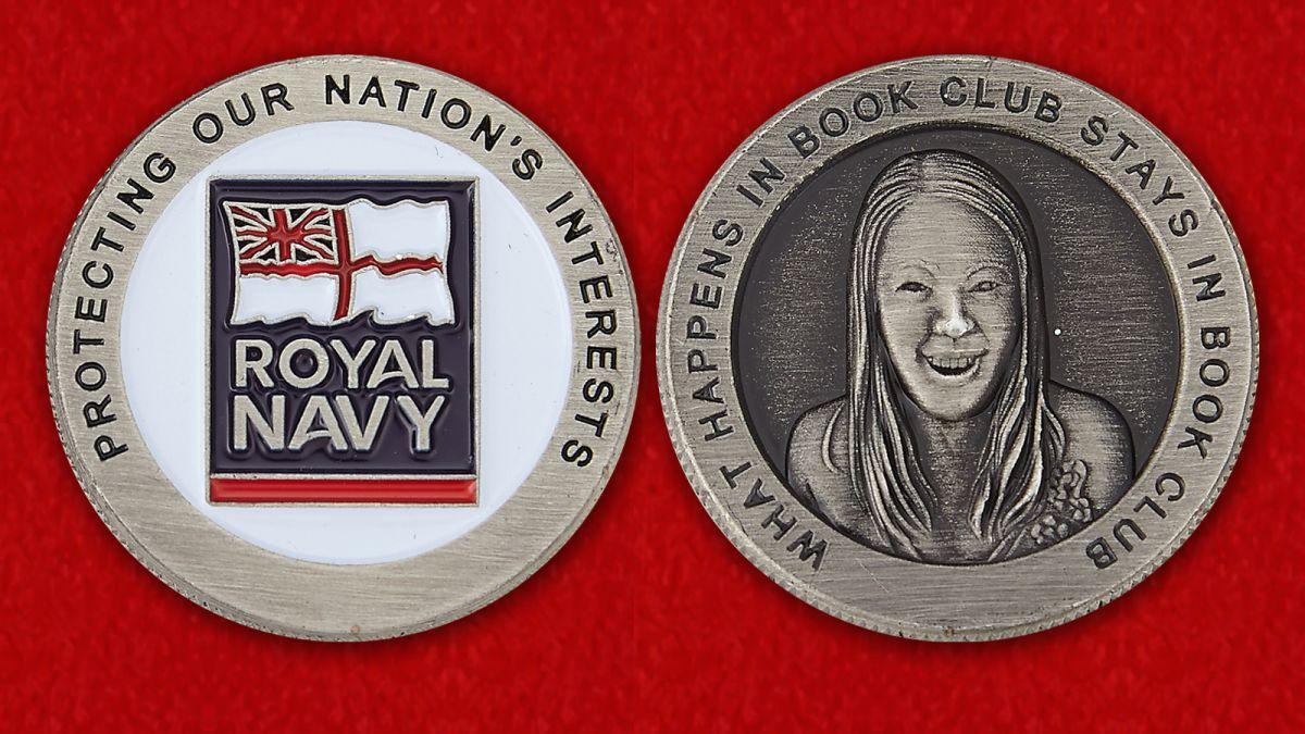 Челлендж коин Королевских ВМС Великобритании - аверс и реверс