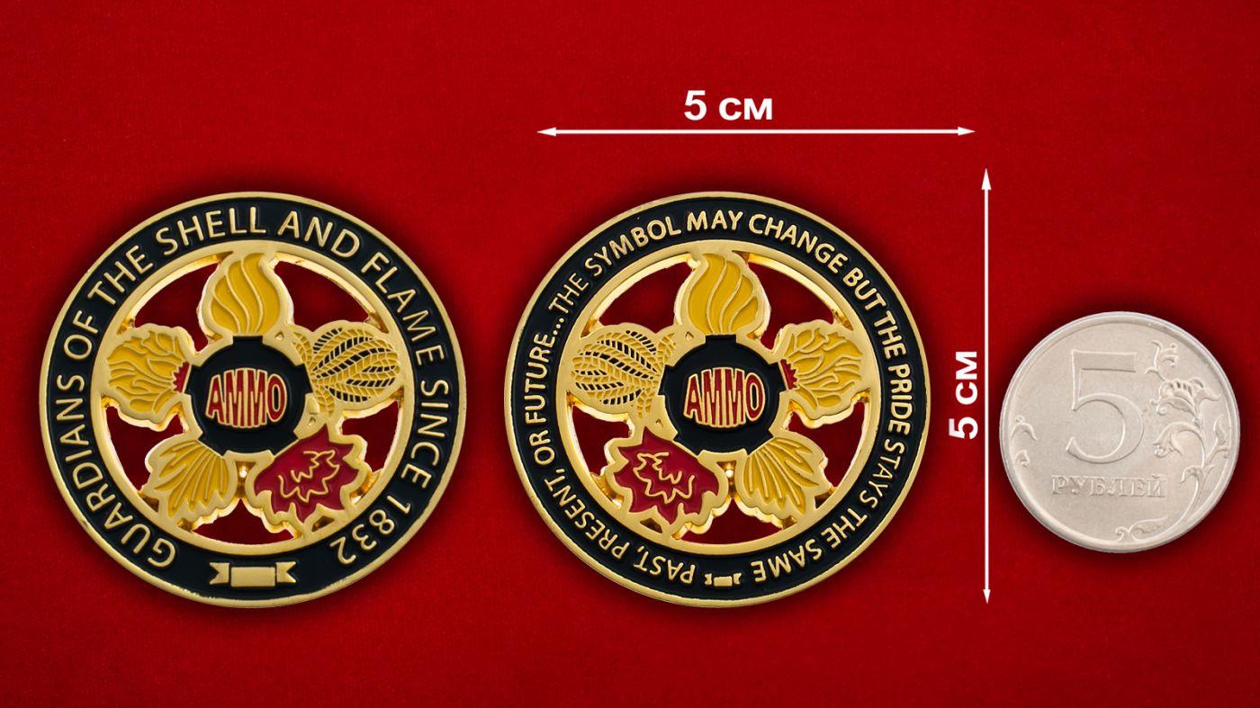 Челлендж коин Корпуса Артиллерийского вооружения Армии США - сравнительный размер