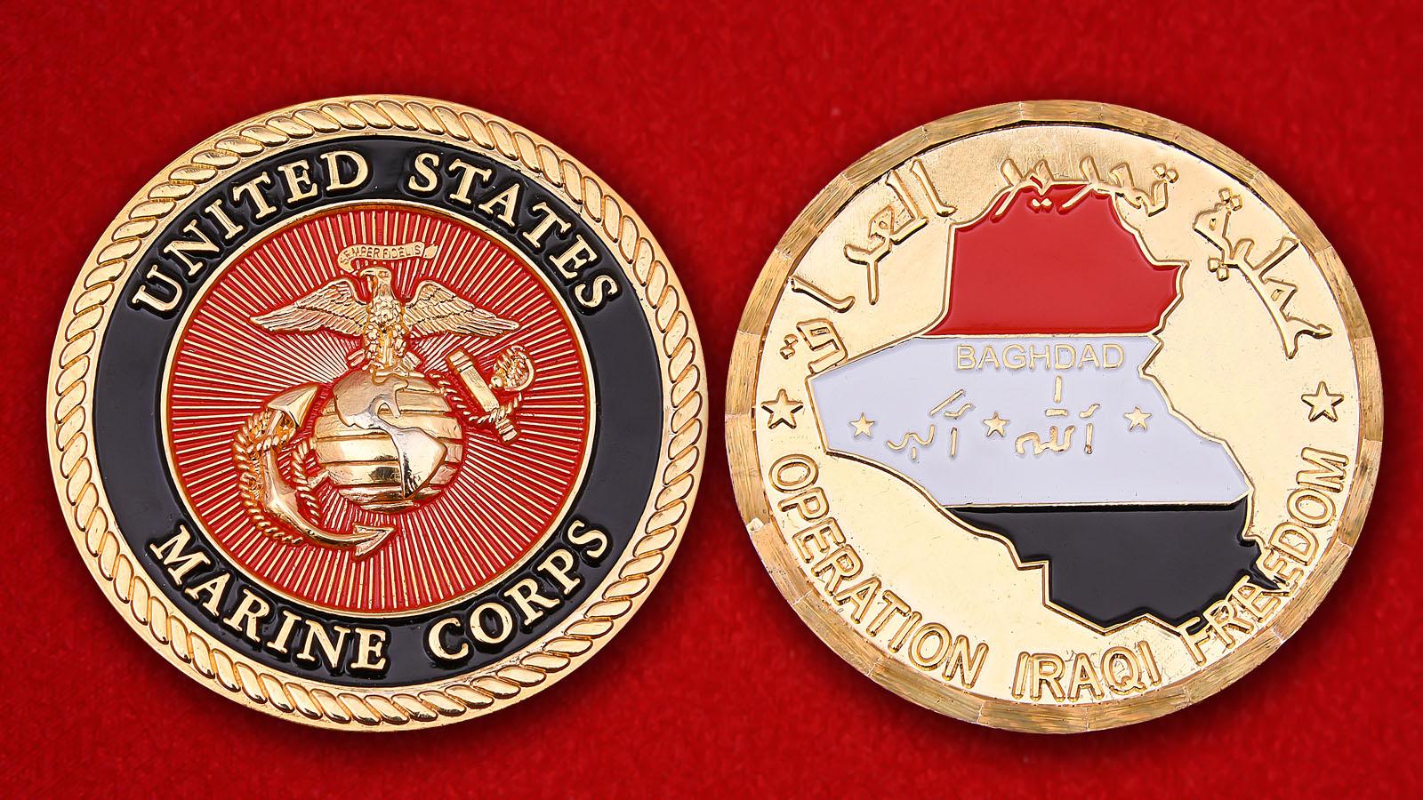 """Челлендж коин Корпуса морской пехоты США """"За участие в операции Иракская свобода"""""""