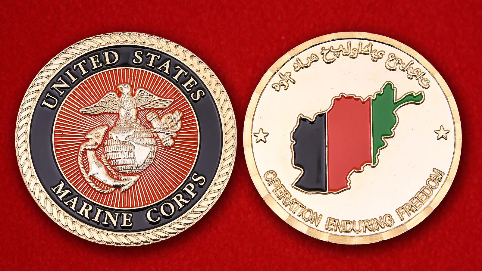 """Челлендж коин Корпуса морской пехоты США """"За участие в операции Несокрушимая свобода"""""""