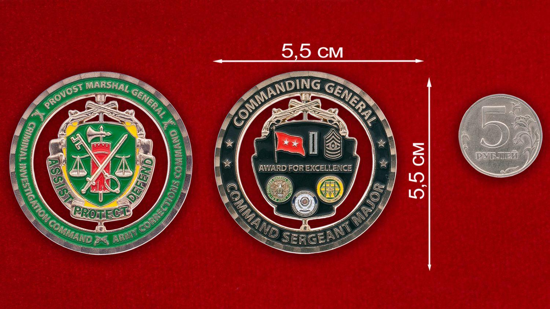 Челлендж коин Корпуса Военной полиции Армии США - сравнительный размер