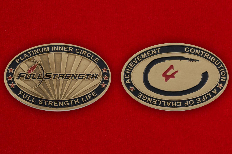 Челлендж коин линейки продуктов спортивного питания Full Strength - аверс и реверс