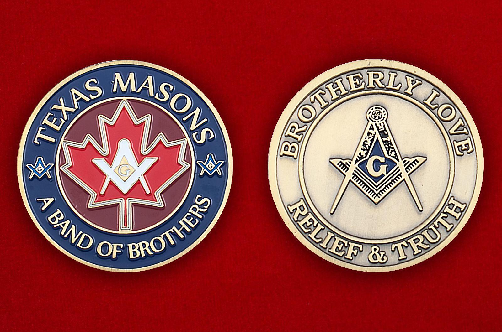 Челлендж коин масонов Техаса - аверс и реверс