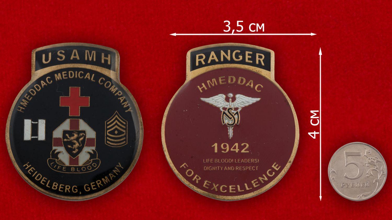 Челлендж коин Медицинской роты Армии США в Гейдельберге, Германия - сравнительный размер