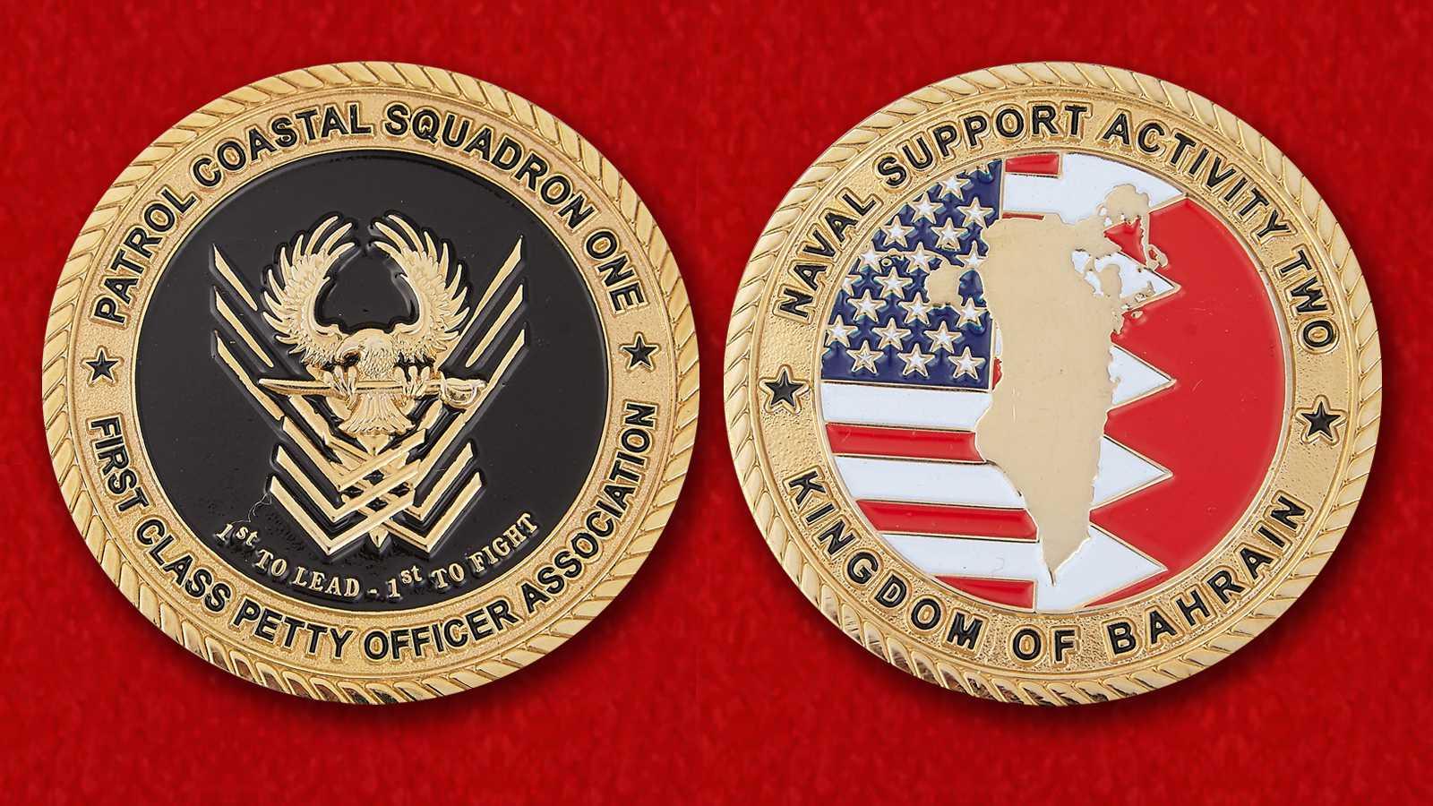 """Челлендж коин старшин 1-го эскадрона Береговой охраны 2-й военно-морской базы ВМС США в Бахрейне"""""""